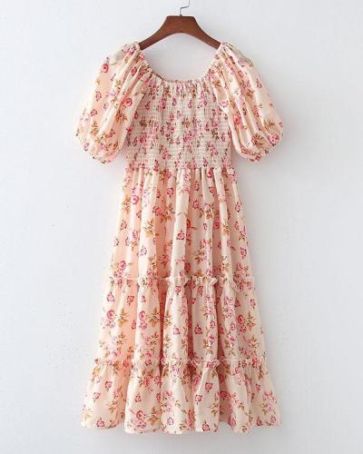Cottagecore Puffy Sleeve Floral Print Dress
