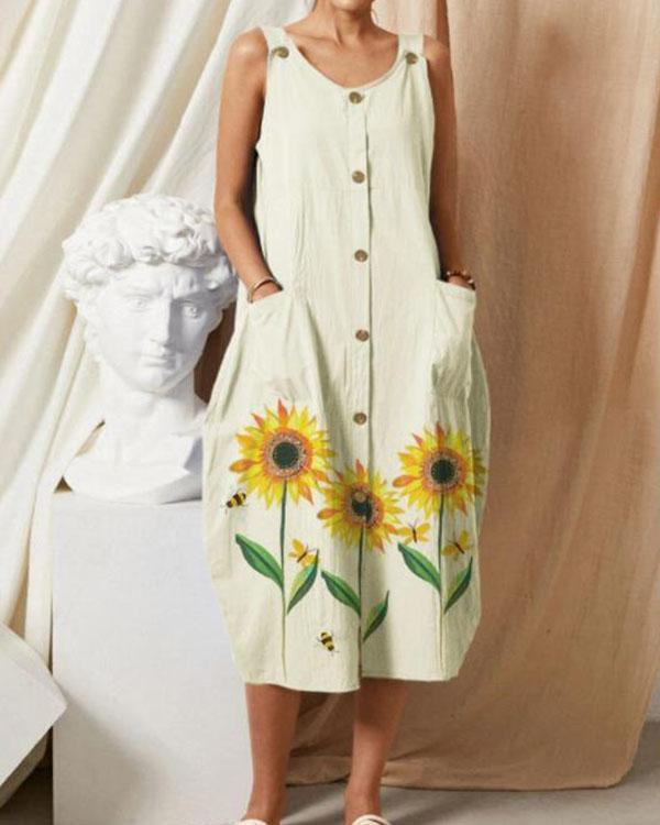 Casual Loose Print Button Sleeveless Midi Dress with Pockets
