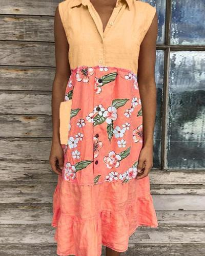 Women's Stitching Print Sleeveless Dress