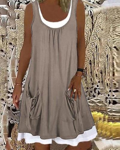 Vintage Summer Solid Pockets Casual Midi Dress