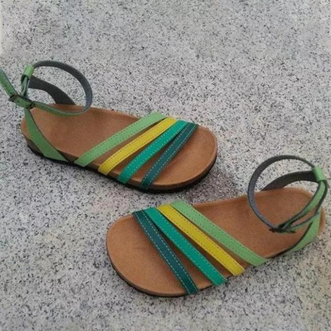 **Green Artificial Leather Outdoor Flat Heel Sandals