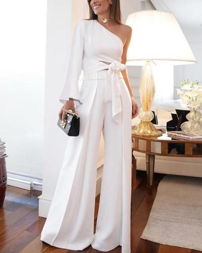 One Shoulder Sexy Solid Bandage Hollow Out Pants Set Elegant Suit