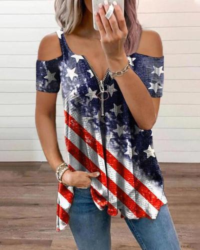 Fashion Flag Zipper Graphic Tees Designer