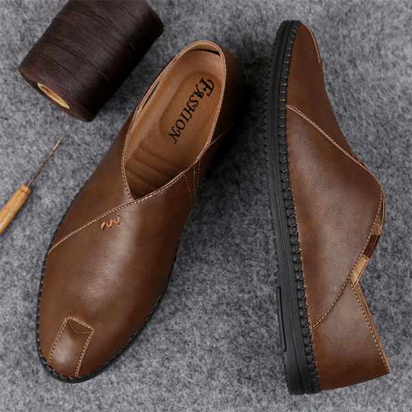 Summer New Leather Lazy Shoes Men's Casual Leather Shoes