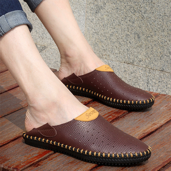 New Men's Summer Breathable Low-top Casual Leather Shoes