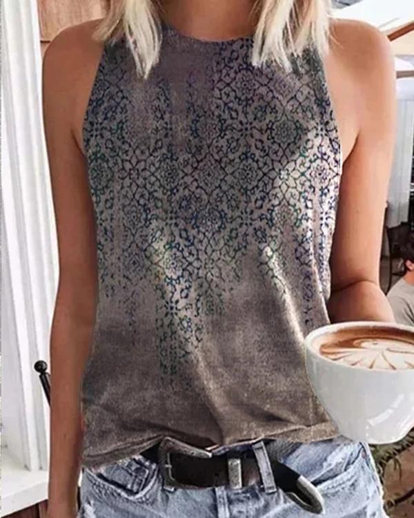 Floral Print Sleeveless Shirts Tops