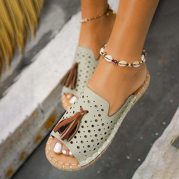 Women's Tassel Decor Hollow-out Open Toe Slippers