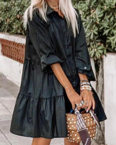 Fashion Suit Collar Single Breasted Shirt Dress