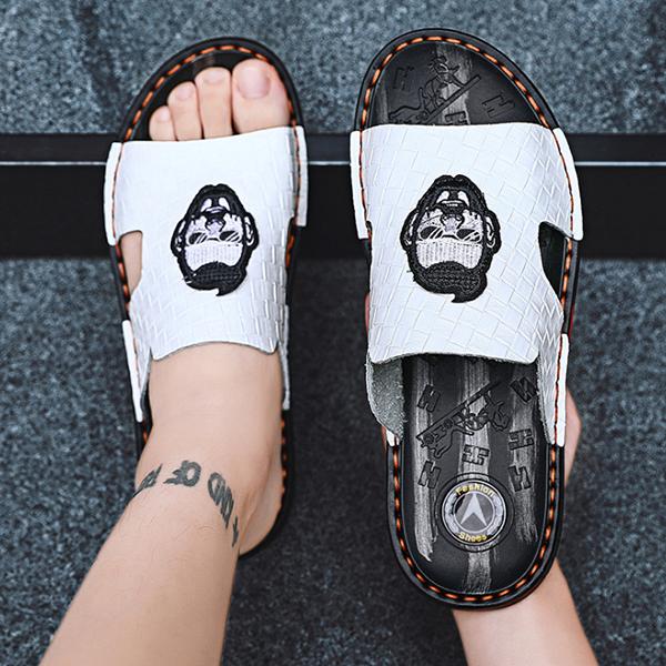 Men's Embroidered Leather Fashion Non-slip Sandals