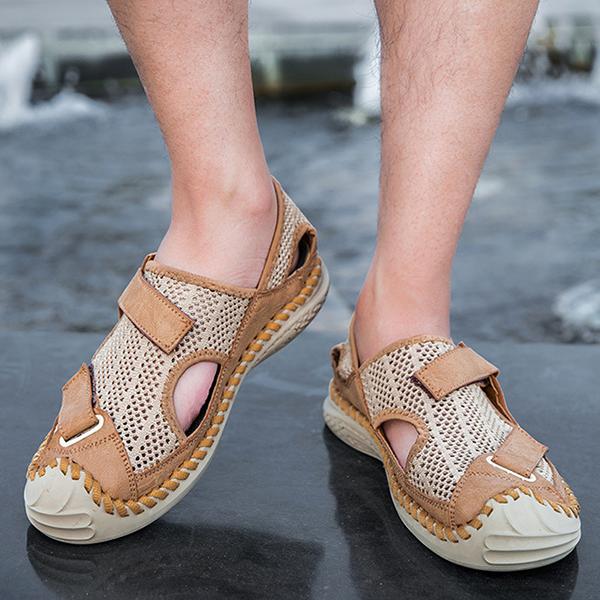 Summer Men's Outdoor Casual Mesh Breathable Handmade Sandals