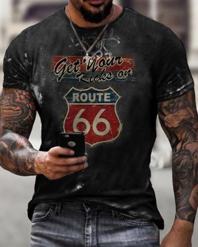Mens Crew Neck Motorcycle Print T-shirt