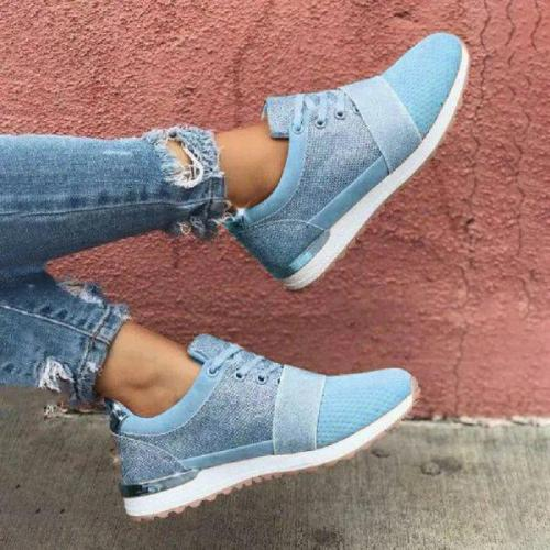 Womens Color Matching Flying Woven Sneakers