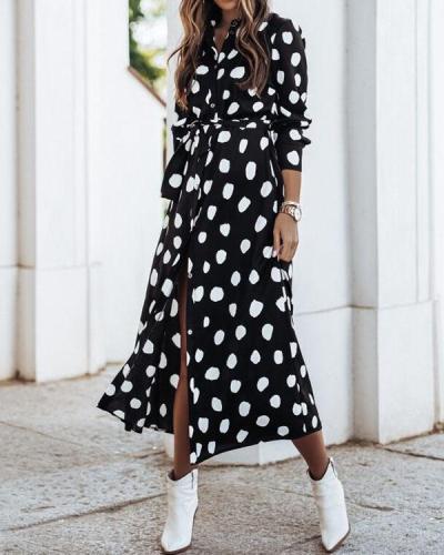 Spring Summer Button Bandage Waist Print Shirt Dresses With Belt