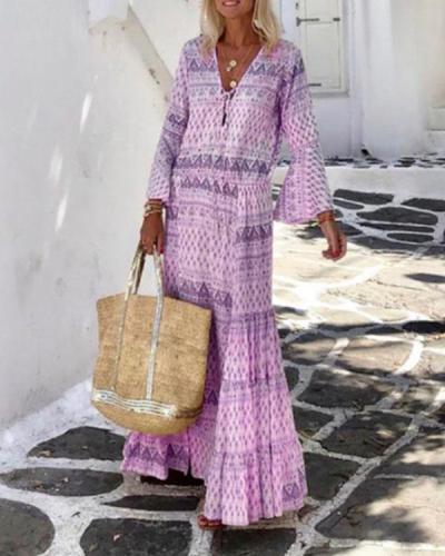 Bohemian Holiday Ruffle Printed Flare Sleeve Lace up Maxi Dress
