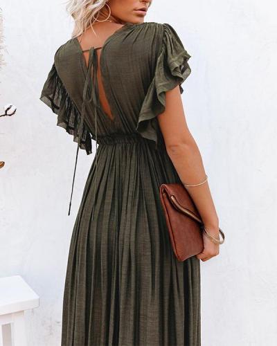 Women Long Maxi Dress Solid V neck Ladies Holiday Dress