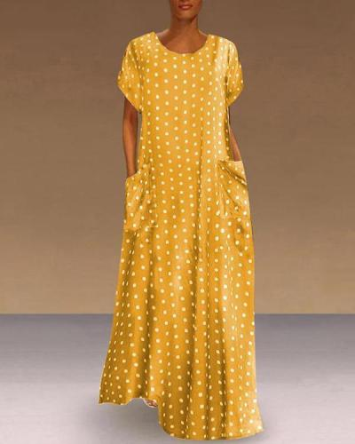 Women Polka Dot Boho Holiday Short Sleeve Dresses