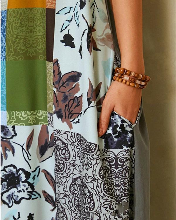 Printed CrewNeck Bohemian Irregular Maxi Dress