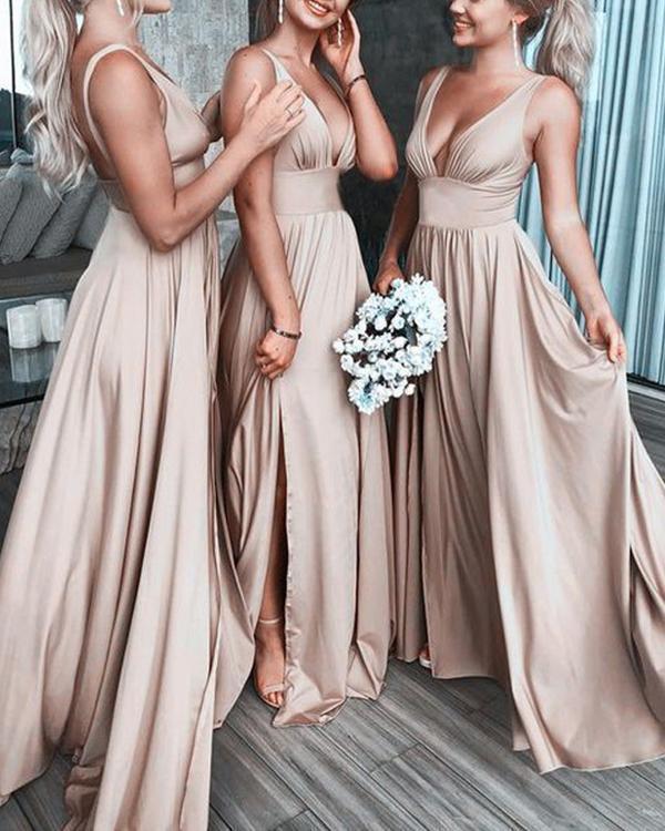 Elegant Solid Color V Neck Bridesmaids Dress