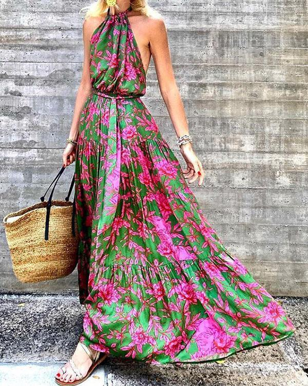 Women's Highwaist Flora Big Hem Floor Length Dress