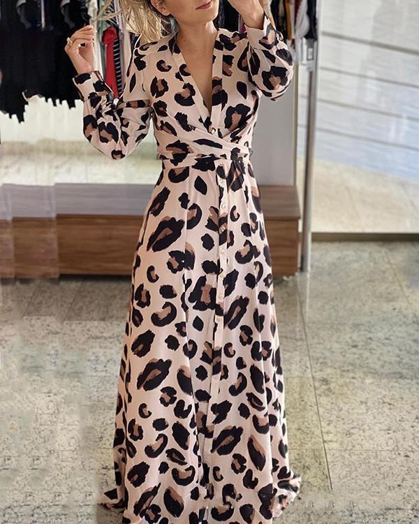 Leopard Long Sleeves A-line Skater Elegant Maxi Dresses