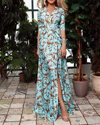 Women's Half Sleeve Print Wrap Dress with Waistband