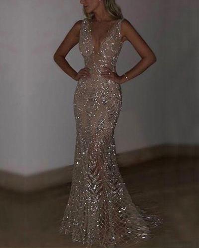Elegant Party Dress Sequins Mermaid Dress