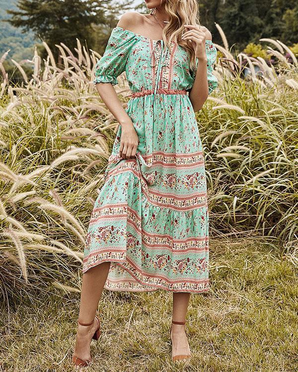 Highwaist Ruffle Floral Printed Round Neck Green Midi Dress
