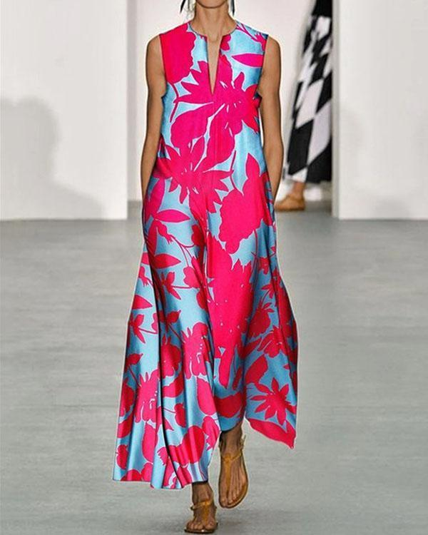 Women's Sleeveless Flowy Flora Maxi Dress