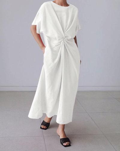 Solid Short Sleeve Twisted Design Irregular Linen Dresses