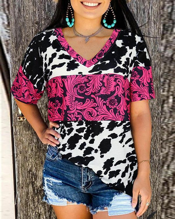 Women's Casual Printed V-neck Blouses