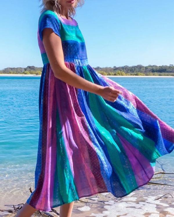 Casual Short Sleeve Colorful Stripe Dresses