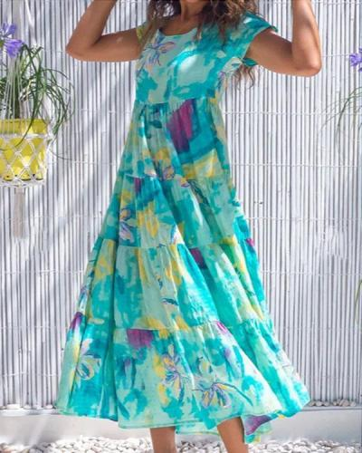 Floral Ruffle A-line Holiday Dress