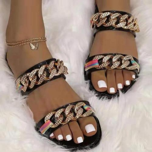 Women Casual Fashion Pu Chic Chain Rhinestone Flat Sandals