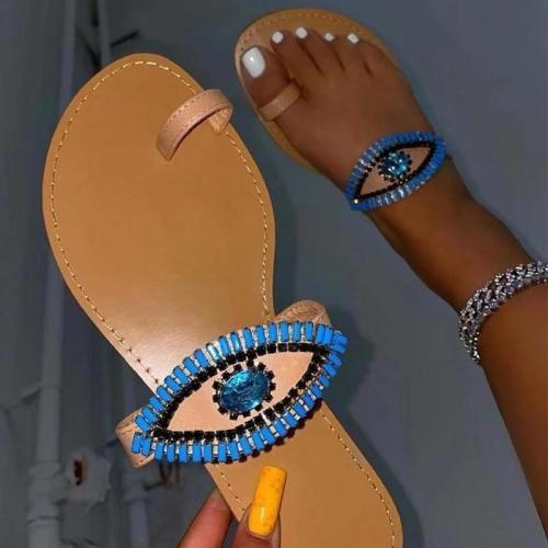 Women Fashion Daily Pu Rhinestone Toe Loop Beach Flat Sandals Slippers