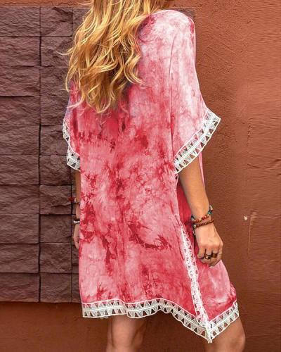Bohemian Tie Dye Round Neck Lace Patchwork Mini Dress
