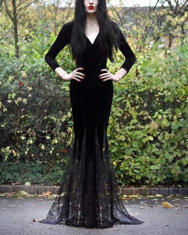 V Neck Halloween Casual Long Sleeve Dresses