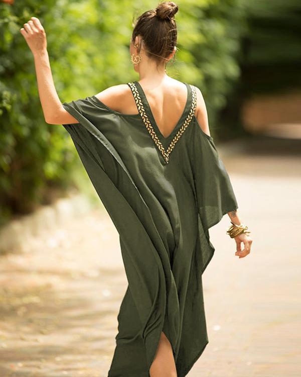 A-Line Floral Batwing Dresses