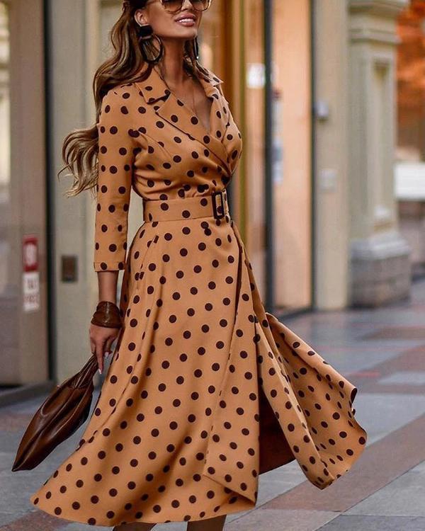 Lapel Print Knee-Length Three-Quarter Sleeve Fall Women's Dress