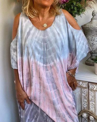 Gradient Tie-dye Cold Shoulder Loose Long Dress