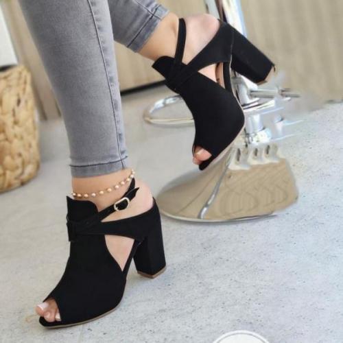 Womens Suede High-heel Buckle Sandals