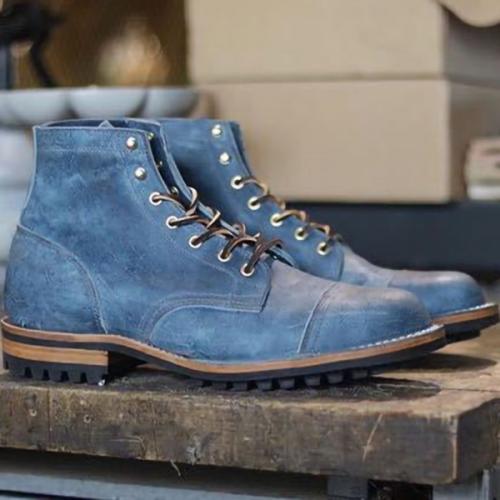 Retro Low Square Heel Square Toe Thin Strap Men's Casual Men's Boots