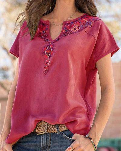Boho Short Sleeve Embroidered V Neck Shirts & Tops