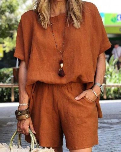 Casual Loose Pure Color Crew Neck Blouse Shorts Two-piece Set
