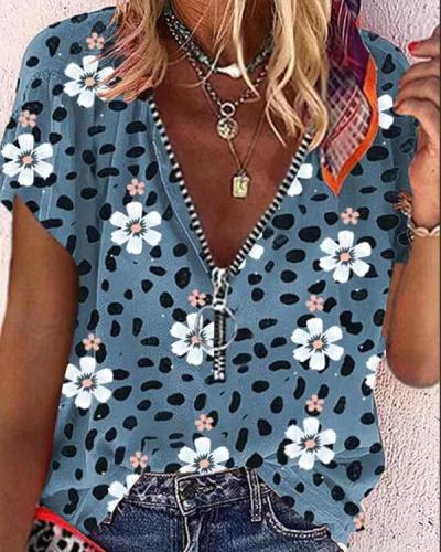 Women's Casual V-Neckline Zipper Leopard Multiflora Blouses
