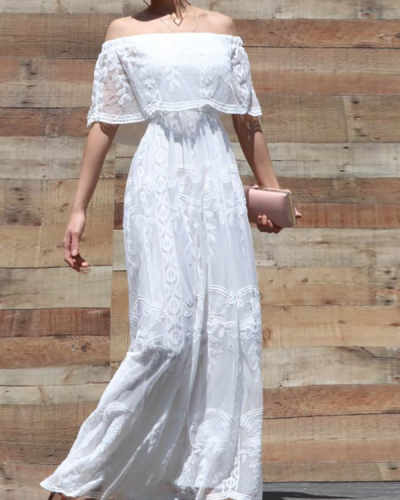 Casual Solid Color Lace One-shoulder Dress
