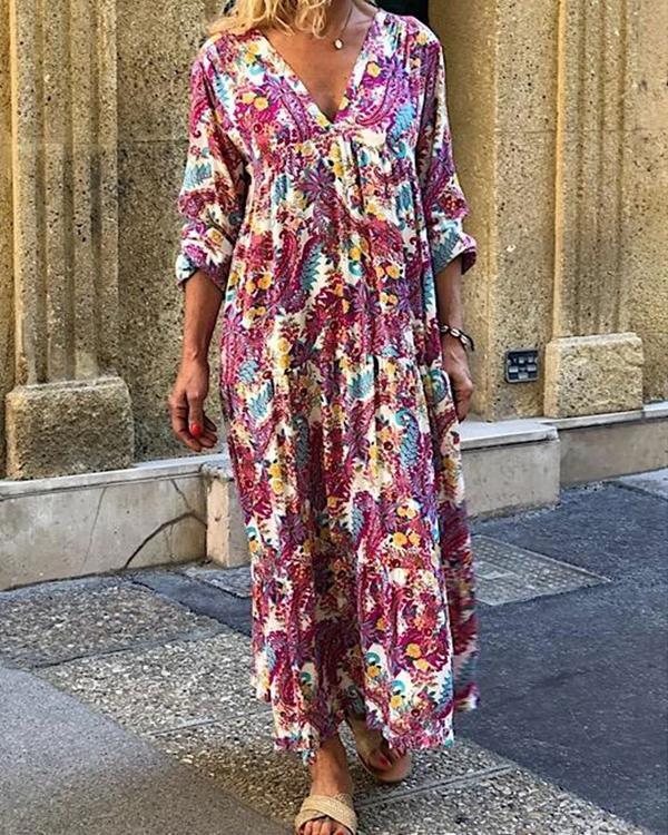 Women Bohemia Printed Sexy Deep V  Maxi Dress