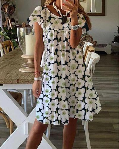 Cotton Blends Floral Dresses