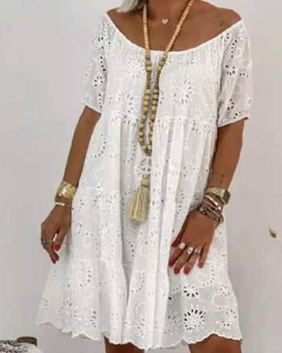 Women Cute Hollow Out Lace Floral Princess Dress