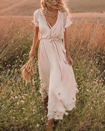 Solid Color V Neck Elegant Drawstring Lace up Chiffon Dress