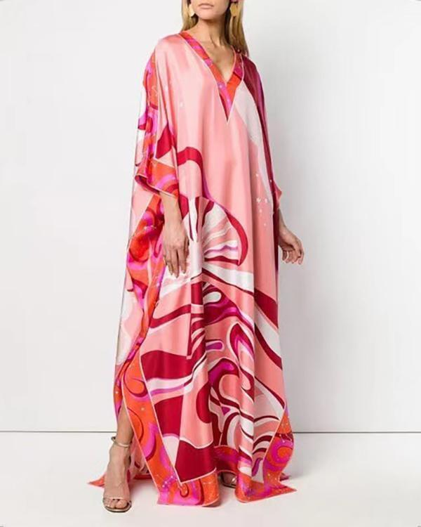 Loose Colorful Printed Long Sleeve Maxi Dress